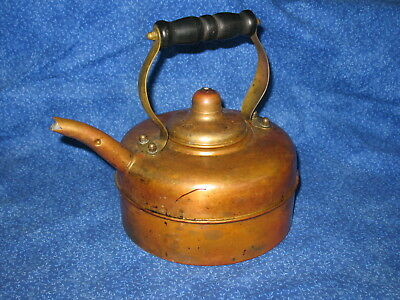Vintage English Water / Tea Kettle Copper Brass Wood Handle Safety Liquid Spout