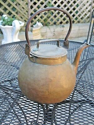 Primitive Antique Solid Brass Large Hand Forged Water Kettle Cast Iron Handle