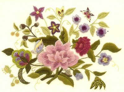 'Lucy's Garden' a Traditional Crewel Embroidery kit from Needlewoman Studio