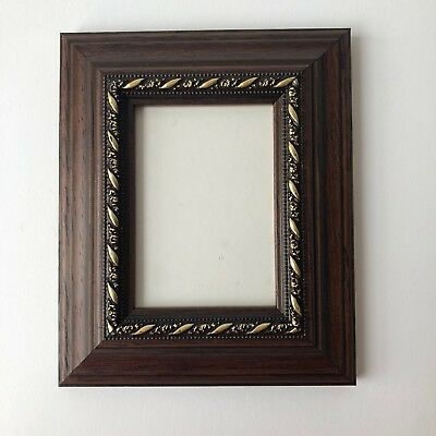 NEW Quality wooden ACEO Art/sports card 3.5 x 2.5 dark brown/gold picture frame