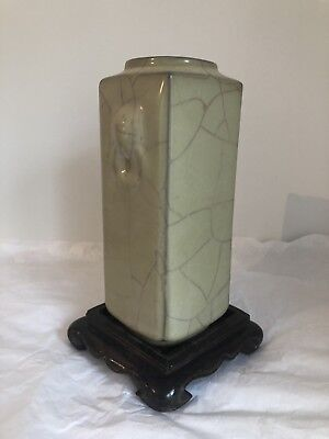 Chinese Celadon Porcelain Cong Vase Crackle Twin Handkes Hardwood Base Mark Base