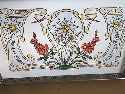 fantastisches Original Jugendstil Tablett - Art Nouveau Keramik Metallmontierung
