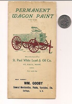 1920s ST PAUL WHITE LEAD & OIL CO. CONESTOGA TYPE WAGON PAINT PRICE COLOR CHIPS