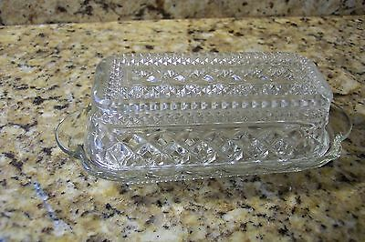 Vintage Butter Dish With Matching Plate Glass Anchor Hocking Wexford Pattern