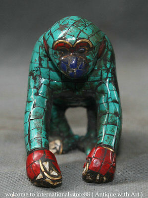 Old Chinese Turquoise Red Coral Bronze 12 Zodiac Year Monkey Crawl Statue