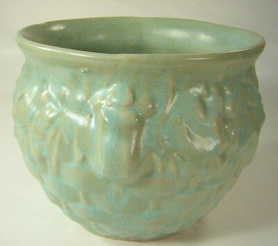 McCoy Aqua Basket Weave, Leaf & Berry Pottery Planter - Pot - Jardinierre