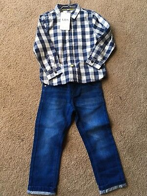 BNWT Boys Age 3-4 Next Skinny Jeans And M&S Shirt. All New.