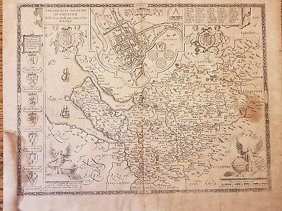 "Antique 1676 John Speede Speed Chester England Laid Paper Map 22 1/8""×17 3/4"""