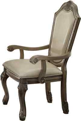 Fantastic Acme Ragenardus Dining Arm Chair In Gray And Antique White Bralicious Painted Fabric Chair Ideas Braliciousco