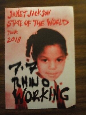 Janet Jackson 2018 Tour Backstage Pass! Unpeeled!  Rare!