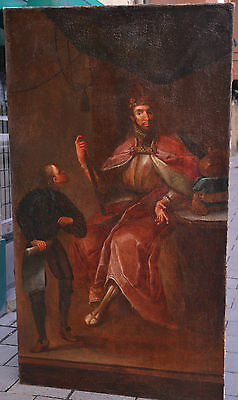 Antique 16th - 17th Century Baroque Oil Painting on Canvas : Portrait of KING