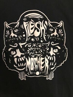 Flesh MOTHER T Shirt Rock Black L Hard Core metal band Cincinnati Ohio