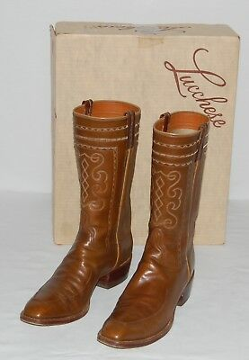 de01e340687 VINTAGE FALCONHEAD BY LUCCHESE FULL HIPPO LEATHER COWBOY BOOTS MENS ...
