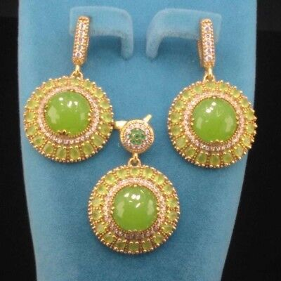 AAA Quality 925 Sterling Silver Jewelry Cabochon Chalcedony Earrings Pendant Set