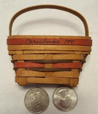 RARE employee made tiny mini LONGABERGER END OF DAY SCRAP BASKET XMAS '91 signed