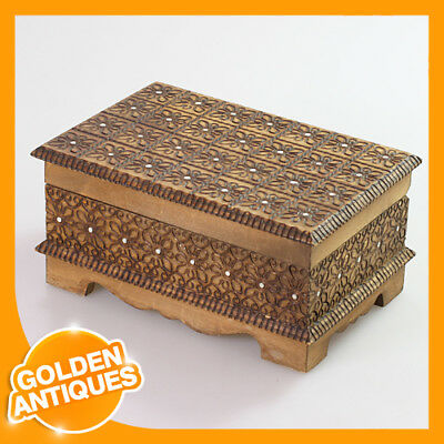 old vintage Wooden Storage Jewellery Box mini small Casket Chest Case Tray