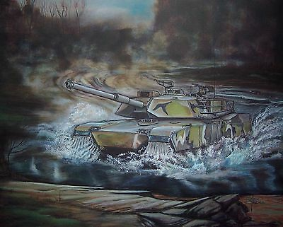 RARE M1 ABRAMS TANK Pilot Vehicle #9 Lithograph by K. Randall Signed & # w/Cert