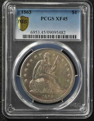 1863 Seated Liberty $1 * PCGS XF45 * RARE * BEAUTIFUL * ORIGINAL