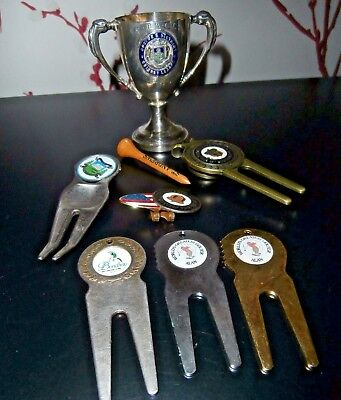 Job Lot Golf Items ~ Pitch Mark Repairers/badge/tee And A Silver Plated Cup
