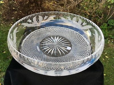Edinburgh Crystal Thistle Etched Bowl 9 & 3/4 Inch In Width