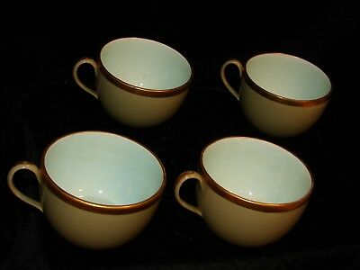 4-19Th C.(1820) Wedgwood Drab Ware Cups Extreme Gilt Banding