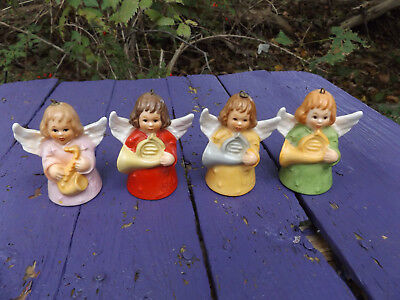 4 1980's Goebel Angel Bell Ornaments 1980 1982 Various Musical Instruments