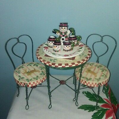 """Ice Cream Parlor Table And Chairs For 18"""" Dolls plus ceramic snowman tea set"""