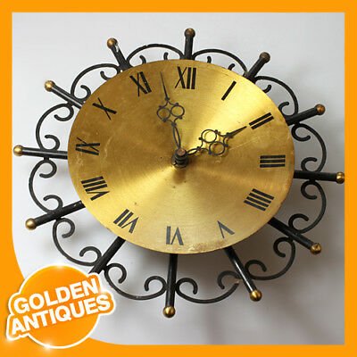 old vintage rare Germany Black Metal Brass Wall Hanging Mechanical Wind-up Clock