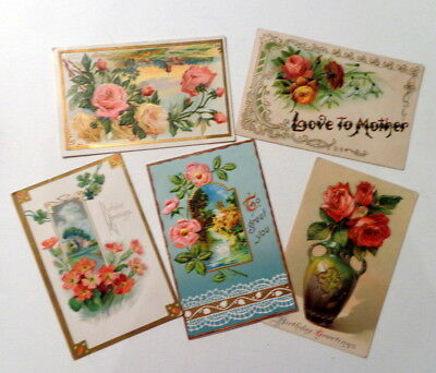 Lot of 5 Beautiful Victorian Antique Postcards - Assorted Occasions