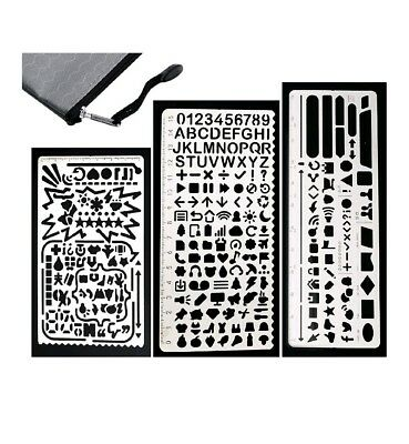 Gimars All Metal Easy to Draw Large Cut Hole Metal Bullet Journal Stencil Set Pl