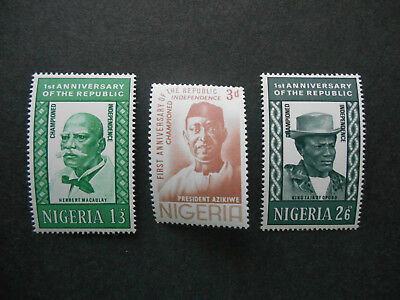Nigeria 1964 1st Anniversary of Republic set SG 150-152 MNH (see photo) Azikiwe