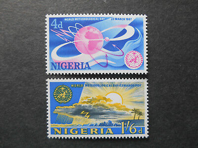 Nigeria 1967 World Meteorological Day set SG 200-1 MNH Weather Satellite, Sun