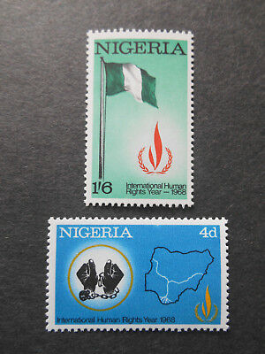 Nigeria 1968 Human Rights Year SG 209-210 MNH Map, Flag, Hands, Chains, Emblem