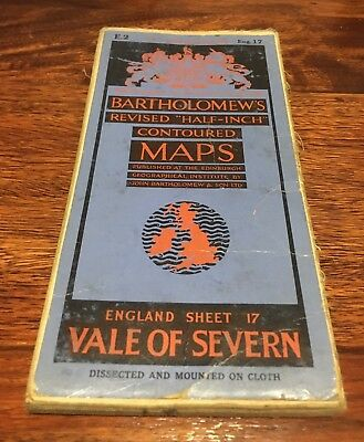 Bartholomew's Revised Half Inch Contoured Map - Vale of Severn - 1920s