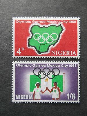 Nigeria 1968 Olympic Games, Mexico SG 213-4 MNH Map, Flag, Athletes, Ring logo