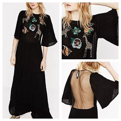 BNWT $99.9 ZARA Women LONG EMBROIDERED DRESS 7521/022 Sold Out Rare Blogger Fave