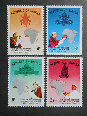 Biafra 1969 Visit of Pope Paul VI to Africa SG 39-42 MNH (see photos) Civil War