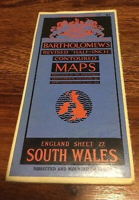 Bartholomew's Revised Half Inch Contoured Map - South Wales- 1920s
