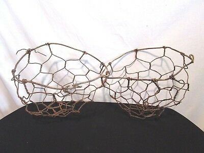 Pair of Vintage Antique Rusted Metal Wire Rustic Primitive Wall Hanging Baskets