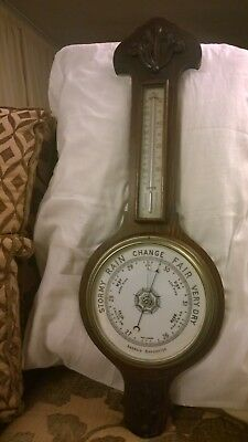 old  mahogany  aneroid barometer with temperature gauge