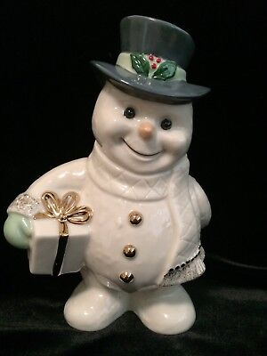 """Lenox Holiday Snowy Gifts Snowman with Presents 6"""" Figurine Christmas NWOT MINT"""