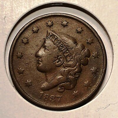 1837 U.S. Coronet Head Large Cent Small Letters (Fine+)