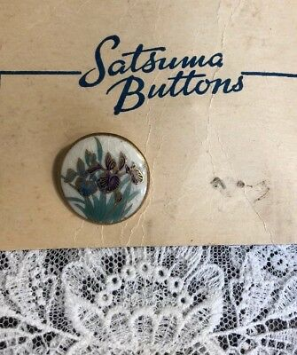 Vintage Satsuma Hand Painted Iris Flower Porcelain Button Japanese JIM-7