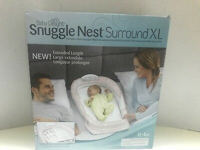 Baby Delight Snuggle Nest Surround XL Portable Infant Bed Sea Navy Swiss - NEW