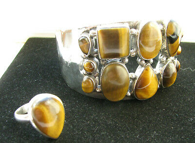 Vintage Solid Silver Tigers Eye Torque & Ring Set Size P 64 x 59mm 62.2g No Res