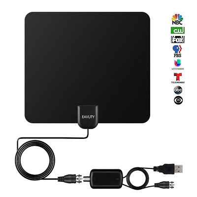80 Miles TV Antenna Indoor Digital HDTV Detachable Amplifier Signal Booster NEW