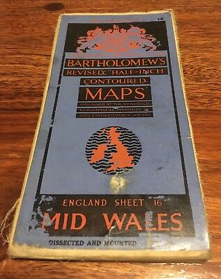 Bartholomew's Revised Half Inch Contoured Map - Mid Wales- 1920s