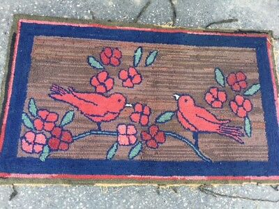 Antique Hooked Rug with Birds and Floral
