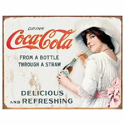 Coca Cola Coke Thru a Straw Girl Vintage Advertising Retro Metal Tin Sign New