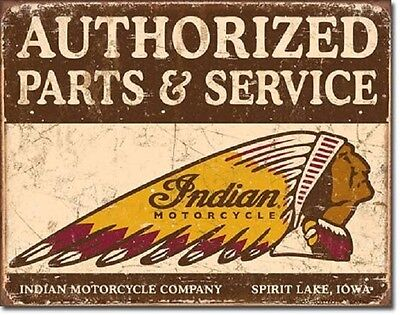 Authorized Indian Motorcycles Parts and Service Retro Gargae Metal Tin Sign